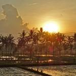 バリ島ウブド近郊2014年12月20日(土)の朝陽とアグン山