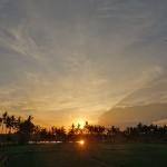 バリ島ウブド近郊2015年1月22日(木)の朝陽とアグン山