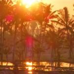 バリ島ウブド近郊2016年1月3日(日)の朝陽と夕焼け
